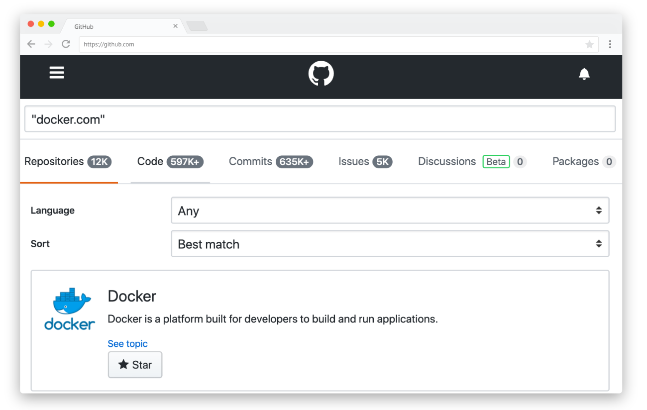 GitHub built-in search