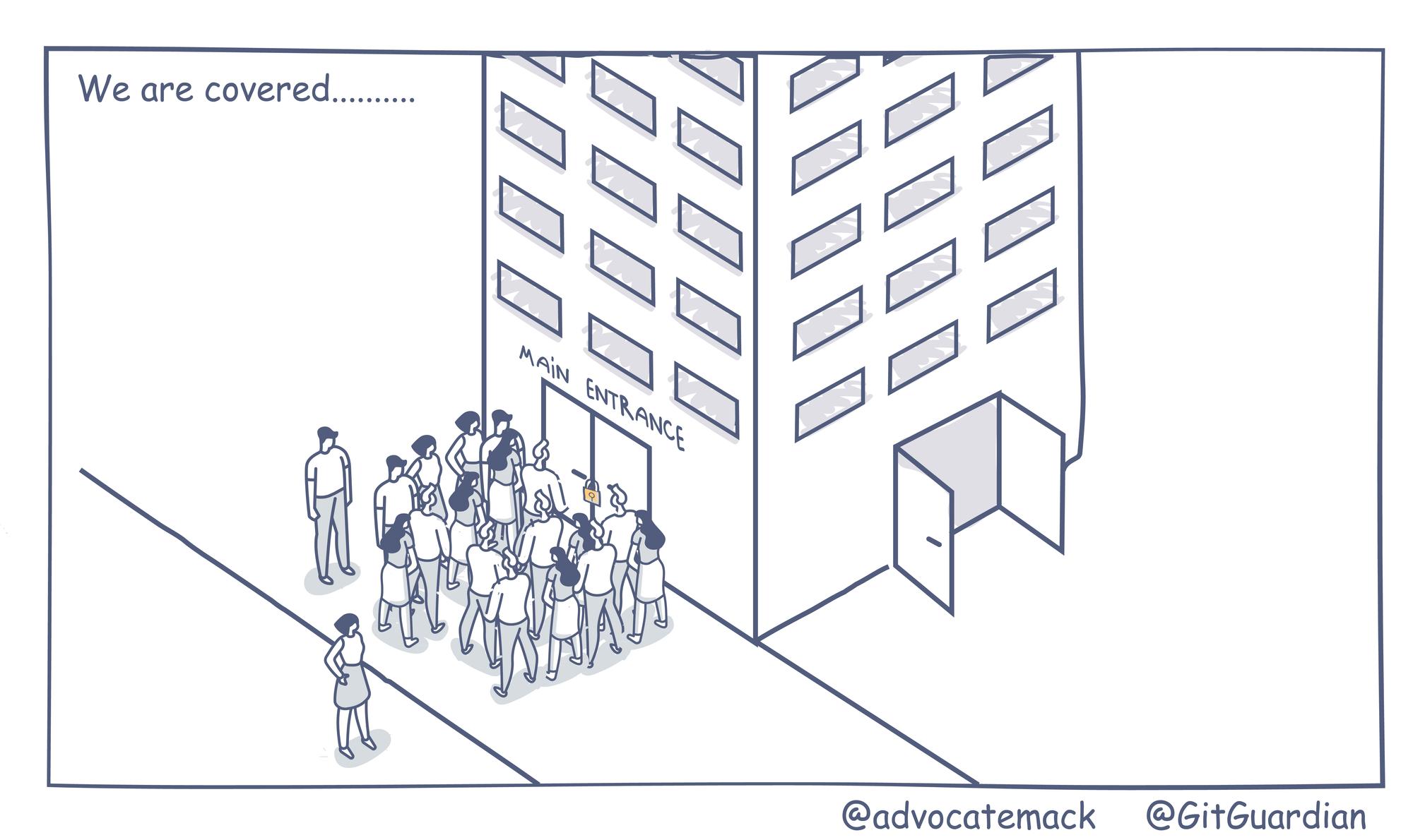 Cybersecurity entering backdoor comic