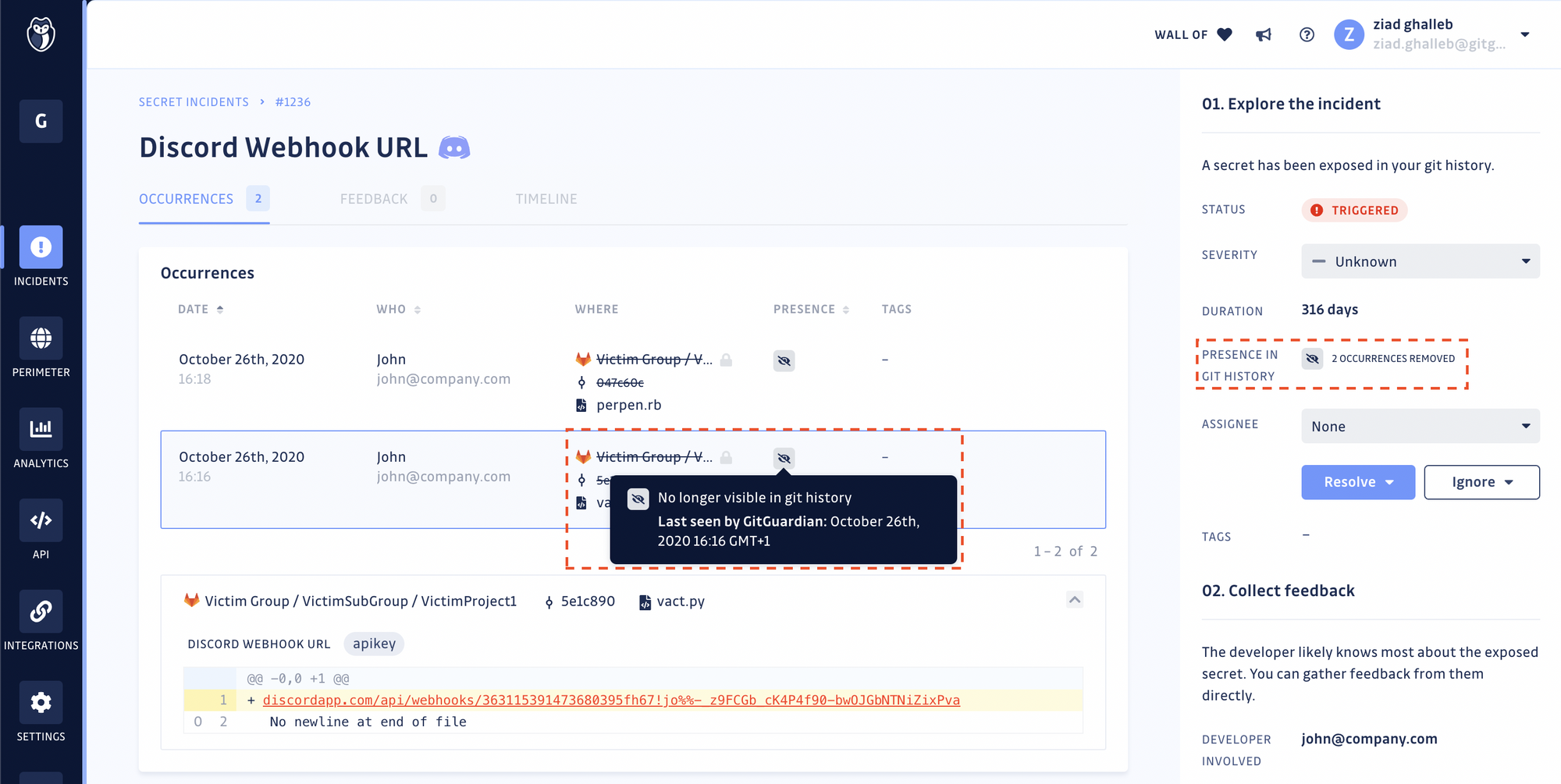 Incident details view — Example of an occurrence removed from the git history
